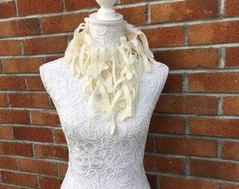 Cream felted seaweed scarf