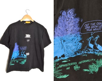 90s Test Print Shirt Peacock XL Black Blue Purple Green Sex Mating Zoo