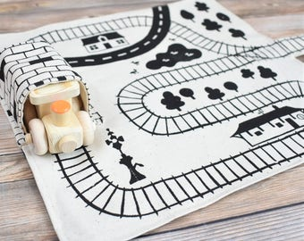 Wooden Train and Playmat