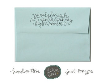 Handwritten Mirabel Address Stamp: your choice of self-inking or red rubber