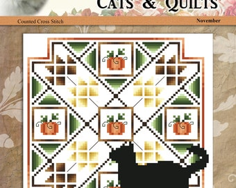 Cats And Quilts November Original Counted Cross Stitch Pattern by Pamela Kellogg