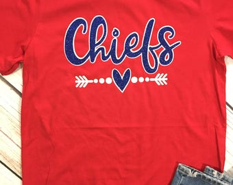 Custom School Spirit Shirt, School Spirit Tee, Personalized School Spirit Shirt, Chiefs School Shirt, Team Shirt, Sports Team Shirts