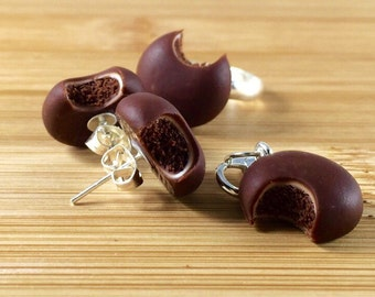 Polymer clay chocolate devils food cake cookie jewelry set or key ring
