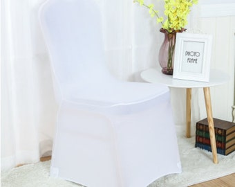 White Lycra Chair Covers Spandex Chair Cover Wedding Banquet Ceremony Feast 21st Birthday Anniversary Engagement Party Chair Decoration