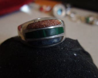 sterling silver ring with goldstone,malachite