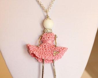 Sweet Dolls crochet-crochet, cotton-like the carose doll, necklace, doll