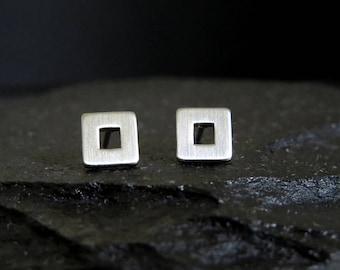 square frame earrings / square post earrings / open square stud earrings / geometric earrings mens earrings / boyfriend gift
