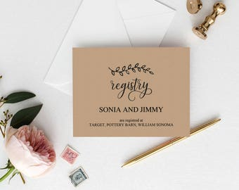 wedding registry insert templates
