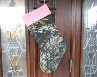 Mossy Oak camo with pink  Christmas stocking