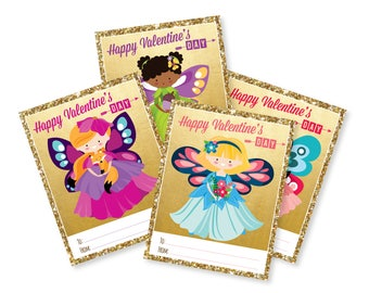 Fairy Valentines Day Cards / printable DIY card / classroom Valentine for kids / Instant Download Valentine Cards / Gold & Glitter Fairy