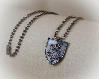 Heraldic Game of Thrones Stark Wolf bronze necklace or keychain