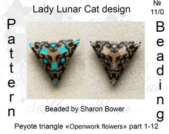 Triangle Peyote pattern  Openwork flowers 1-12  scheme for beading 12 color combinations