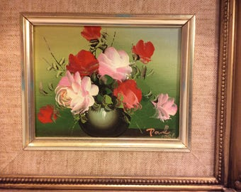 Vintage Framed  Oil Painting Signed Artist Paul,  Gold Gilt Frame, Shabbily Chic Art , Wall Decor , Retro Art Flowers in Vase  Boho Style