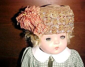 Vintage EDWARDIAN Doll HAT Plume/Sequins Inside Net Precious