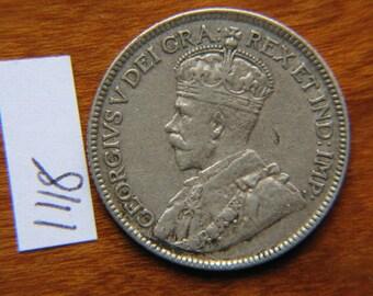 1917 Twenty Five 25 Cents Silver Canada Coin Queen Victoria