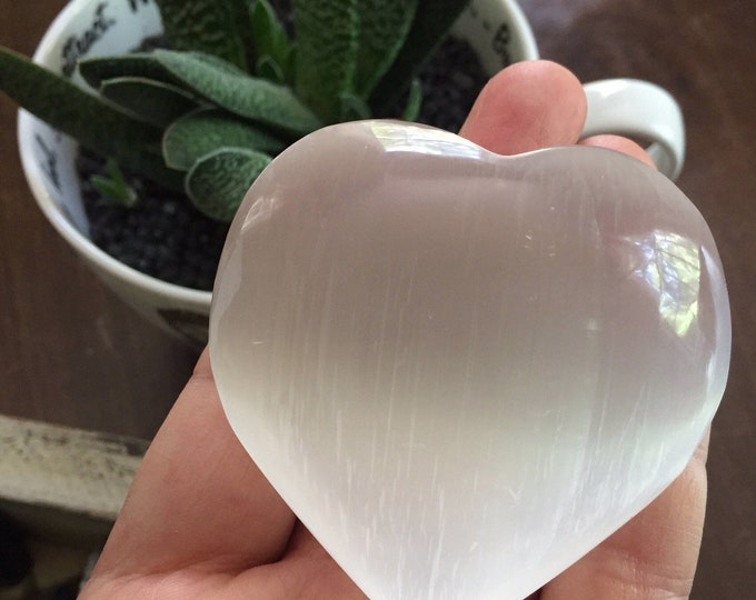 Large Selenite Heart | Reiki Love Infused | Spiritual Junkies | Healing Crystal + Gemstone | 2-3 Inches