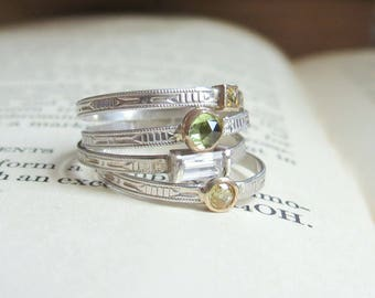 Art Deco Stacking Rings in Sterling Silver and Gold with Gemstone including Sapphire and Peridot Stackable Rings Dainty Stacking RIng