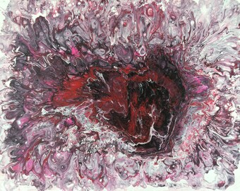 Acrylic pour paqinting. Aer, Red, White, Black, Home decor