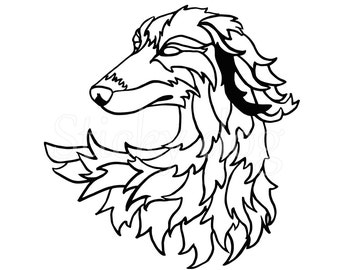 Saluki head art sticker