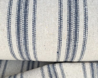 Grain Sack Fabric Blue Stripe Vintage Inspired Sold By The Yard Feed Sack Fabric Flour Sack Fabric Gunny Sack Fabric Grain Sack Reproduction