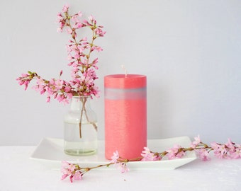 Pink and silver pillar candle, unscented soy candle, unique gift idea, a massive candle, home décor idea