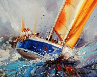 Sailing ship Hart on the wind c94839 50 x 60 cm impressive oil painting