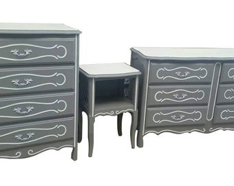 SOLD - French Provincial three (3) piece refinished grey dresser and nightstand set