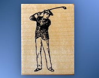 Vintage-style GOLFER Mounted rubber stamp, man golfing, golf club, Sweet Grass Stamps No.14