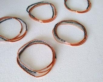 Copper bracelet, brown bracelet, stretchy bracelet, brown and charcoal bracelet,seed bead bracelet,minimalist,bridesmaid bracelet,gray, rose
