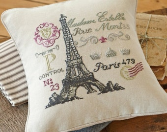 Cross stitch pattern FRENCH POSTCARD -needlepoint,french,paris,diy embroidery,needlepoint pattern,pillow,chic,eiffel tower,Anette Eriksson