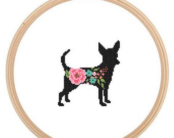 Chihuahua Silhouette Cross Stitch Pattern Floral roses Pet animal wall art Dog cross stitch modern trendy great gift