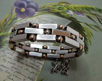 WILLIAM SPRATLING Copper Ball & Silver Link Bracelet 1940s    NDT40