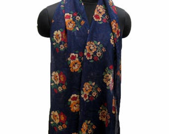 Floral scarf/ light weight scarf/ navy blue scarf/ multicolored scarf/ all season scarf /gift scarf/ / gift ideas.