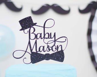 Little Man Baby Shower Cake topper - Welcome Little Gentleman - Moustache - Top hat - bow tie