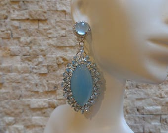 Blue Chalcedony and Blue Topaz earrings in Sterling Silver with pave cz