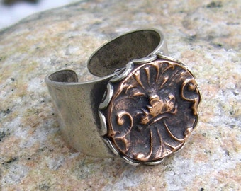 Architectural Ruins Adjustable Copper and Silver Plated Ring, Victorian Pattern, Sculptural relief