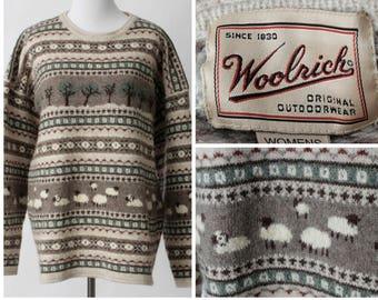 Women's Woolrich Sweater Wool Cotton Nylon - 90s Retro Extra Large XL