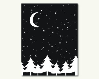 """Starry Snowy Landscape Pine Night Christmas Holiday Art Print - INSTANT DOWNLOAD - 11""""x14"""""""