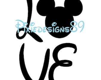Disney Mickey Head 'Love' Portrait - Iron On T-Shirt Transfer – INSTANT DOWNLOAD