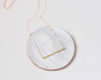 Layering Necklace - Gold Layering Necklace - Gold Hammered Bar Necklace - Gold Bar Layer Necklace - Trendy Jewelry - Minimal Gold Necklace