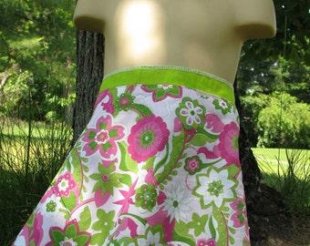 Wrap Skirt Reversible Glitter Flowers with Green Toddler 12M-4T
