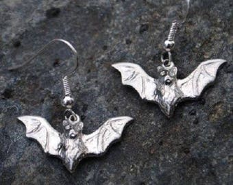 Bat Pewter Earrings