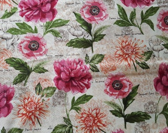 Botanical Floral Cotton Fabric Sold by the yard
