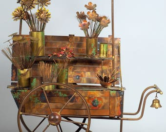 Curtis Jere Flower Cart Sculpture
