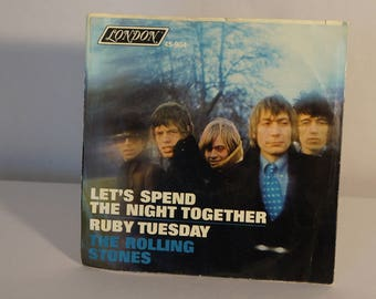 Rolling Stones 1967 Let's Spend the Night Together/Ruby Tuesday 45 with photosleeve London Records