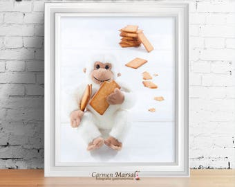 Photography for children room. For children and babies. To print. Wall décor children. Monkey children's room, children picture