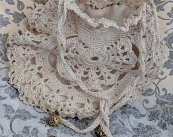Cream Ivory Lace Wedding Bridal Crochet Purse Reticule Handbag Steampunk Victorian Civil War Edwardian
