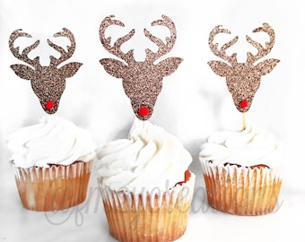 Cupcake Toppers | Rudolph the Red Nose Reindeer Glitter Cupcake Toppers | Christmas Cupcake Toppers | Reindeer | Christmas Classroom Party