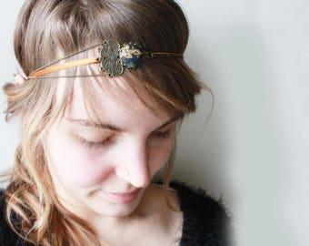 Scandinavian headband. headband convertible necklace. grey Russian Blue Brown