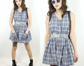 Flannel Early 90s Sleeveless Cotton Grunge Babydoll Dress, Plaid Cut-Off Pocket Dress, 90s Button-Down Mini Dress, Women's Size Medium